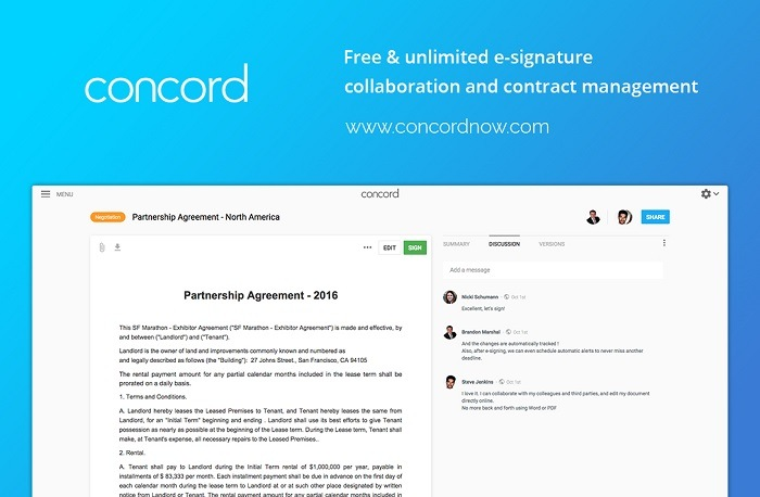 Concord contract management software